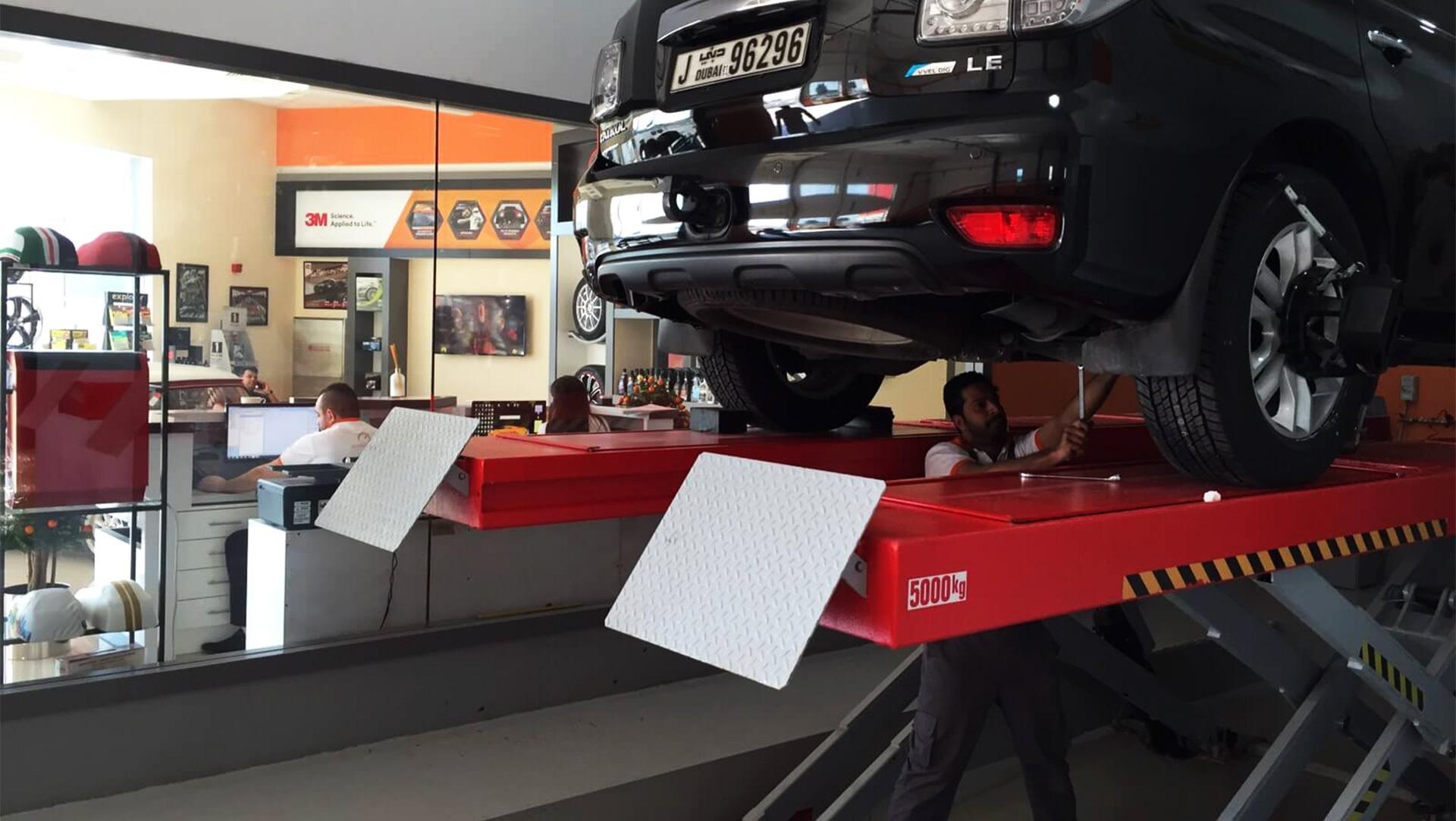 wheel alignment at orange auto dubai
