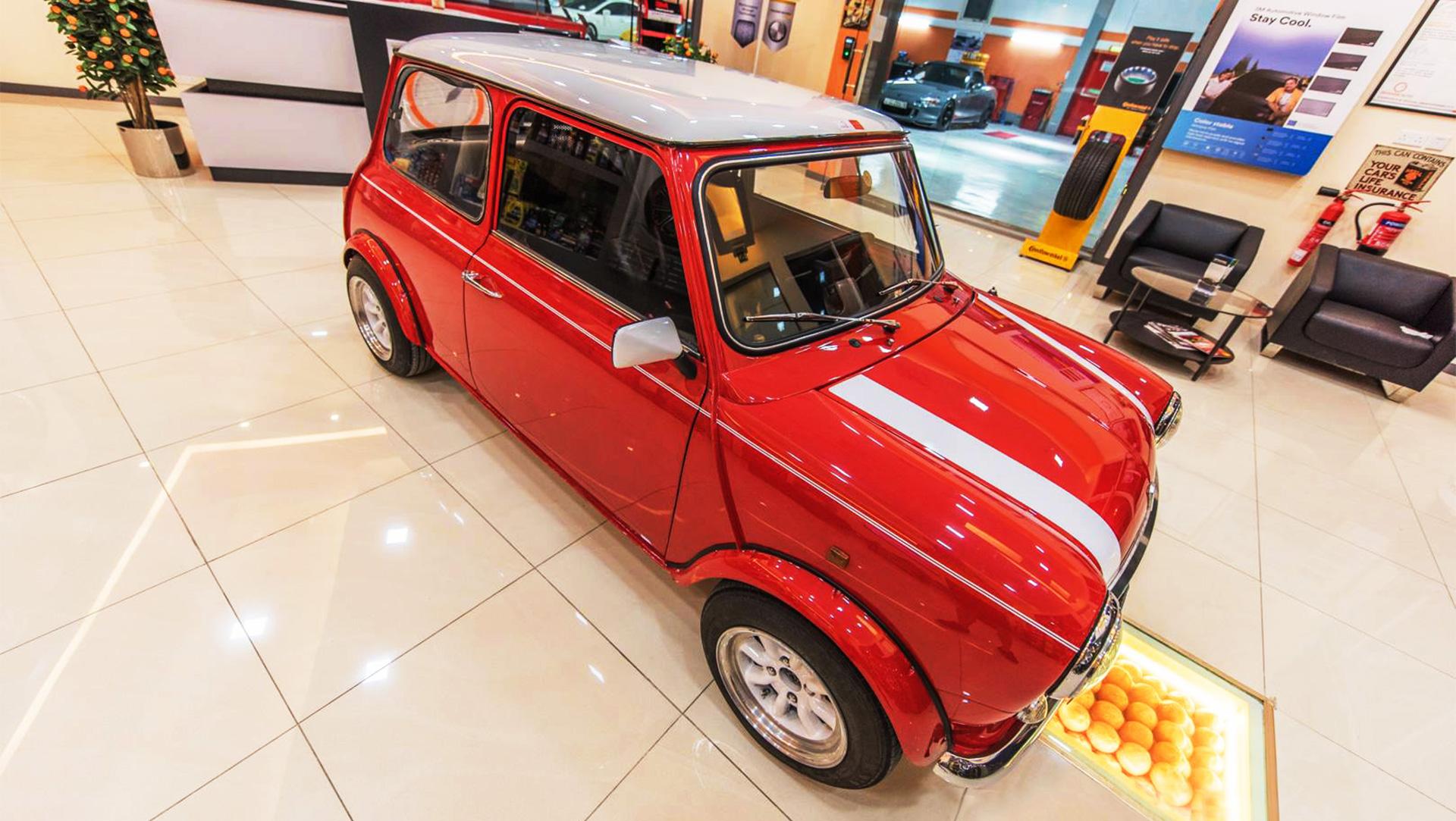 Vintage Mini Cooper at Orange Auto Lobby Dubai